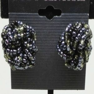 Stud Earrings Black Beaded Sparkle Pierced 1291